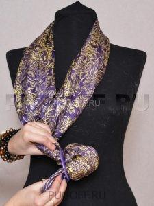 Пуговицы для платков – схема крепления №3. Палантины шарфы